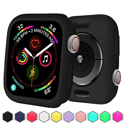 BOTOMALL for Apple Watch Case 38mm 42mm 40mm 44mm Premium Soft Flexible TPU Thin Lightweight Protective Bumper Cover Screen Protector for Smartwatch Series 5 Series 4 3 2(Black,38MM Series 3/2)