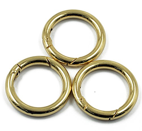 MagiDeal 3pcs Gold Plated Alloy Round Spring Snap Hooks Clip 35mm