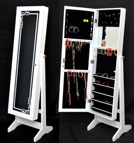 Armoire à bijoux avec miroir 145 cm blanc avec décoration: Amazon.fr ...