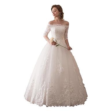 BRL MALL Women\'s A Line Off Shoulder Lace Wedding Dresses Long ...