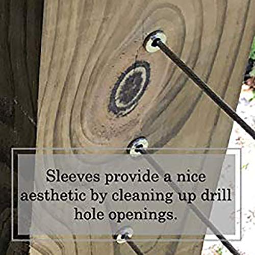 Wood Posts Shumo Stainless Steel Protector Sleeves for 1//8 Cable Railing DIY Balustrade T316 Marine Grade 55 Pack