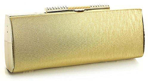 Big Handbag Shop Womens Party Evening Hard Case Long Diamante Clasp Shoulder Clutch Bag Purse Gold