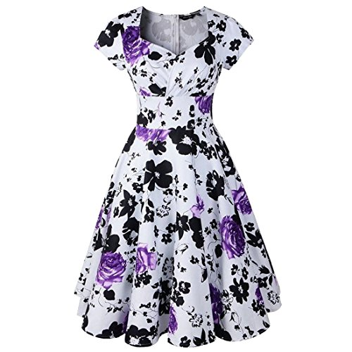 Shengdilu Women's Vintage 1940s 50s Shirtwaist Flared Summer Floral Dress Swing Skaters XL Purple (Purple Dress Clubwear)