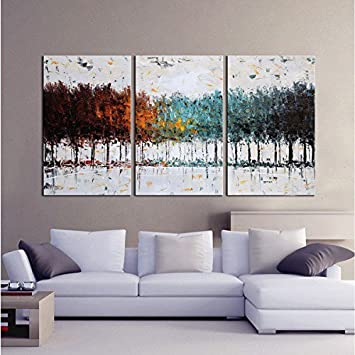 Amazon.com: Gardenia Art - Colorful Forest Abstract Art 100% Hand ...