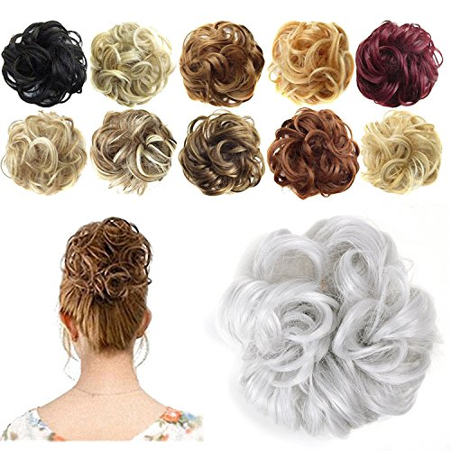 Revlon Hair Extensions - FESHFEN Synthetic Hair Bun Extensions Messy Hair Scrunchies Hair Pieces for Women Hair Donut Updo Ponytail