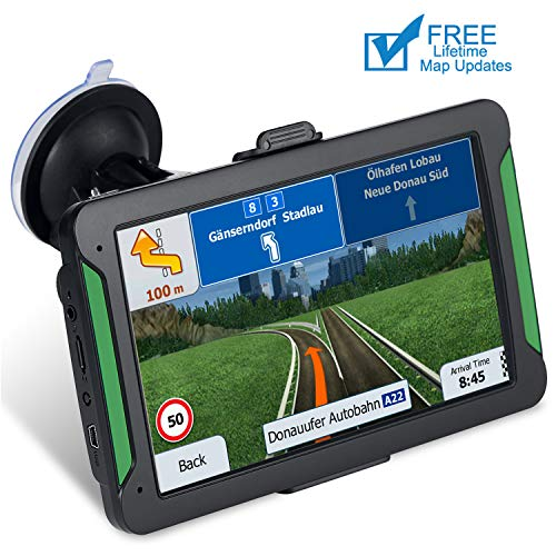 GPS Navigation car,[2019 Upgraded Version] 7 inch HD Capacitive Touch Screen GPS Navigation System with 8G Memory, Attach Sunshade,Free Lifetime Maps