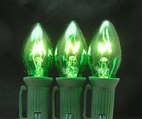 7 Watt C7 Transparent Outdoor Patio Party Christmas Novelty Replacement Bulbs, 25 Pack (Transparent Green Replacement)