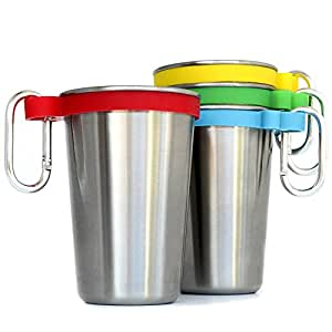Stainless Steel Cups Set of 4 with color bands, Clip On Hooks, Beer Pints, Kids Tumblers by The Cuppery