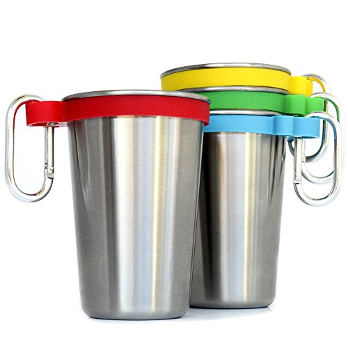 Stainless Steel Cups Set of 4 with color bands, Clip (Pint Dishes)