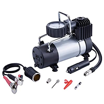TIREWELL 12V Tire Inflator - Direct Drive Metal Pump 100PSI, Portable Air Compressor with Battery Clamp by TIREWELL