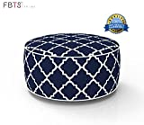 FBTS Prime Outdoor Inflatable Ottoman Navy Round Patio Foot Stools and Ottomans Suitable for Kids and Adults Portable Travel Footstool Used for Outdoor Camping Home Yoga Foot Rest