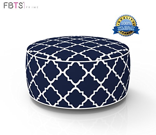 FBTS Prime Outdoor Inflatable Ottoman Navy Round Patio Foot Stools and Ottomans Suitable for Kids and Adults Portable Travel Footstool Used for Outdoor Camping Home Yoga Foot Rest by FBTS Prime