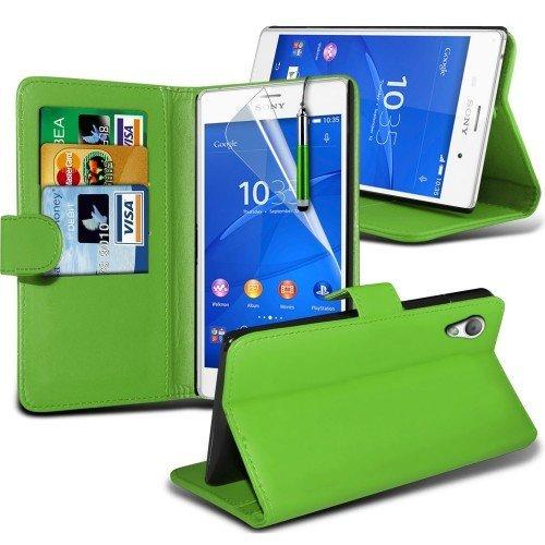 Sony Xperia Z3 Compact Cubierta del caso con cuero (Verde) Plus de regalo libre, Protector de pantalla y un lápiz óptico, Solicitar ahora mejor caja del teléfono Valorado en Amazon! By FinestPhoneCase