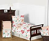 Sweet JoJo Designs Peach and Green Shabby Chic Watercolor Floral Girl Toddler Bedding Set for Children Kids - 5 Pieces Comforter, Sham and Sheets - Pink Rose Flower Polka Dot