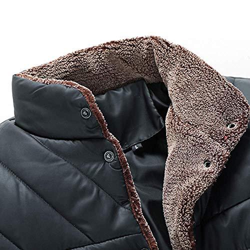 Cappotto Spessa Giacche Da Down Casual Warm Qiusa Autunno Tops Overcoat Solid Uomo Button Lunghe Size Inverno Work Moda Capispalla Pocket Formal Nero Trapuntato A Fleece Maniche Plus Keep FdO5xwOq
