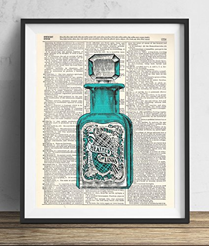 (Perfume Bottle With Blue Illustration Vintage Upcycled Dictionary Art Print 8x10)