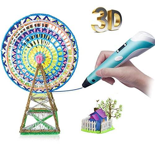 3D Stereo Drawing Pen-Low-Temperature & LED Display, 3D Printing Drawing Pen with 1.75mm PLA ABS Filament, Creative Drawing Pen for Kids- Blue