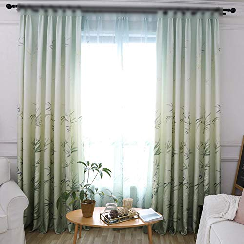 (pureaqu Thermal Insulated Semi Blackout Chinese Flower Green Bamboo Tree Printed Metal Grommet Top Room Darkening Curtain Decorative Drapes for Living Room/Bedroom W52 x H84 Inch)