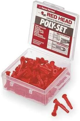 """uses # 6 or # 8 Screw Box of 100 1/"""" Red Plastic Anchors"""