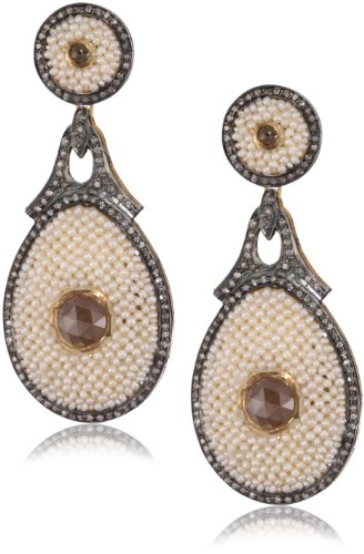 "Fine Jewelry by Kevia ""Byzantium"" Diamond and Pearl Brocade Earrings"