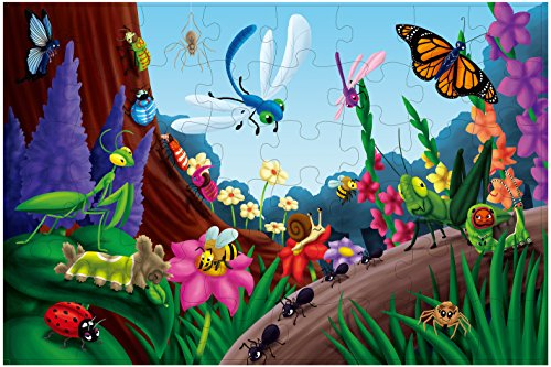 Floor Puzzles - 48 Piece Giant Floor Puzzle, Bugs and Insects Jumbo Preschool Jigsaw Puzzles, Toy Puzzles for Kids Ages 3-5, 1.9 x 2.9 Feet