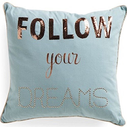 "Sheffield HOME Feather Filled Cushion, 12 by 12"",FOLLOW YOUR DREAMS"