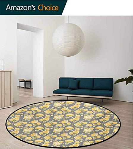 - RUGSMAT Flower Round Rugs for Bedroom,Hydrangea Chrysanthemum Hortensia Pattern Countryside Old Style Illustration Circle Rugs for Living Room,Diameter-39 Inch Yellow Gray Green