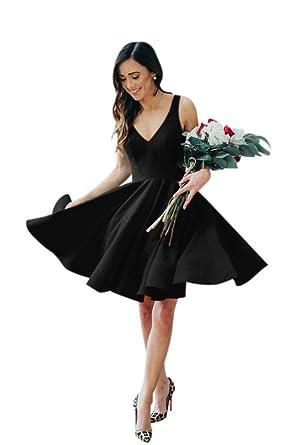 0adac7c4fe5 AlfaBridal Women s Double V Neck Short Black Cocktail Prom Dress for  Valentine s ...