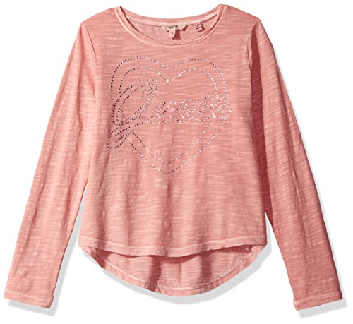 GUESS Big Girls' Long Sleeve High-Low T-Shirt, Slip Pink Sipk, (Guess Slip)