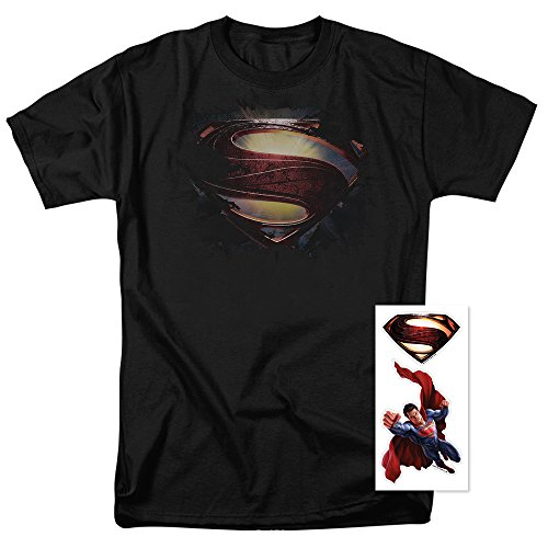 Exclusive Black T-shirt (Popfunk Superman Man Of Steel Movie Glowing Shield Black T Shirt & Exclusive Stickers (X-Large))