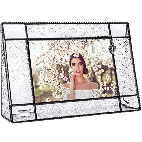 - J Devlin Pic 278-46H Vintage Glass Picture Frame 4x6 Horizontal Photo Frame Heart Accent Decorative Keepsake