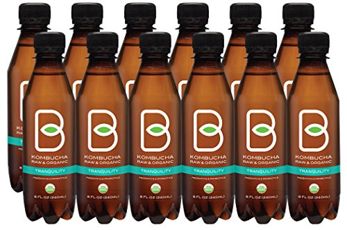 B-tea Kombucha Raw Organic Tea, Only 2 g of Sugar, Probiotics and Prebiotic, Kosher, Tranquility-Green Tea, Aloe Vera, 8 oz., Pack of 12