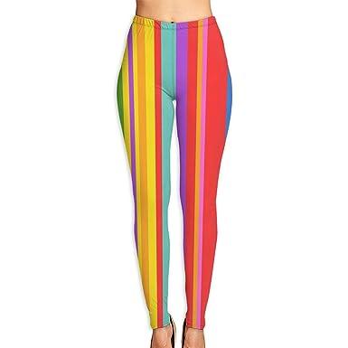a66c5e64a8da5e Amazon.com: Women's Soft Lightweight Rainbow Stripe Printed Leggings High  Waist Yoga Pants Training Leggings: Clothing