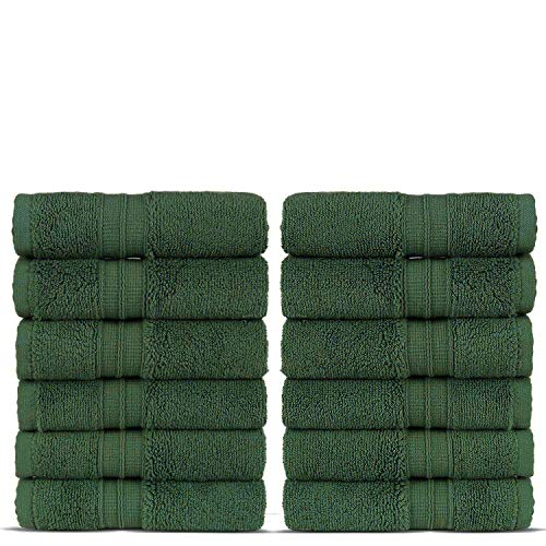 Luxury Premium Turkish Cotton 12-Piece Washcloths, Long-Stable 20/2, 2 Ply Turkish Ring-Spun Cotton Yarn Makes The Luxe-Factor, Eco-Friendly, (Moss)