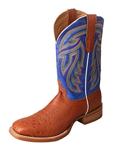Ostrich Brandy (Twisted X Men'S Rancher Boot, Color: Brandy Smooth Ostrich/Avatar Blue, Size: 7,)