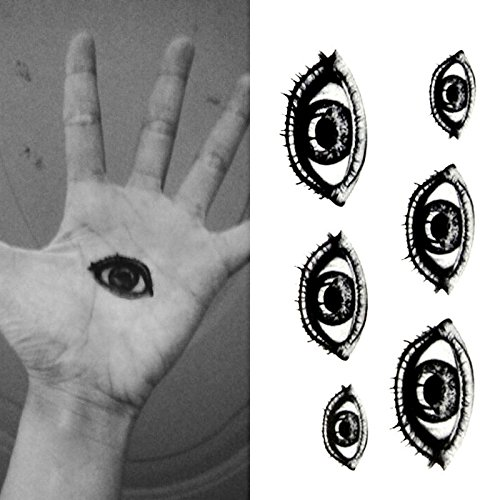 Oottati Small Cute Temporary Tattoo Horror Halloween Eye (2 Sheets)
