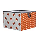 Bacati Playful Foxs Storage Box, Orange/Grey, Large