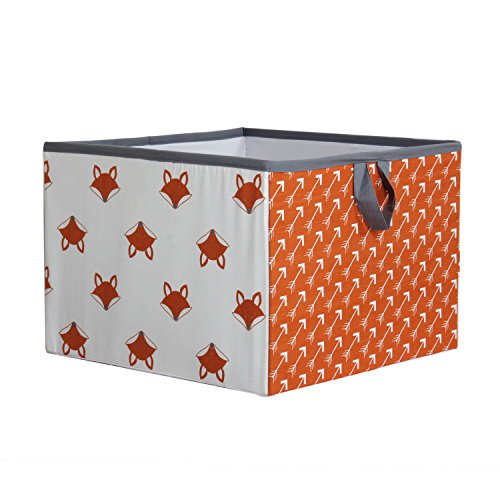 Bacati Playful Foxs Storage Box, Orange/Grey, (Quilted Fox Trim)
