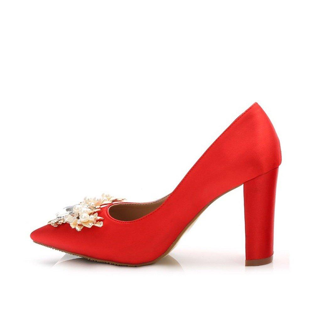 HXVU56546 High Heels Frühjahr Und Herbst Frauen Wasser Bohren Und Partei Scharfe Crystal Einzelne Schuhe