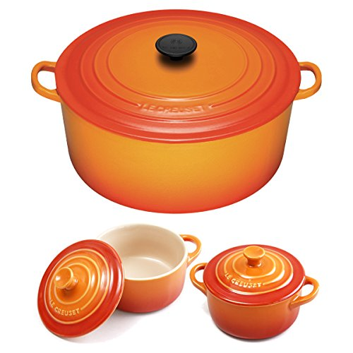 (Le Creuset Signature Flame Enameled Cast Iron 9 Quart Round French Oven with 2 Free Stoneware Cocottes )
