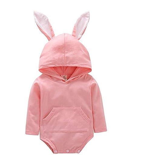 fa520010acc Newborn Infant Unisex Baby Romper Bunny Ear Hoodie Bodysuit Cartoon Rabbit  Long Sleeve Jumpsuit Outfits (