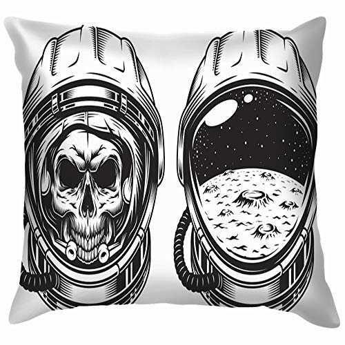 Skull Space Helmet Star Poster Emblem Cotton Throw Pillow Case Cushion Cover Home Office Decorative, Square 20X20 Inch]()