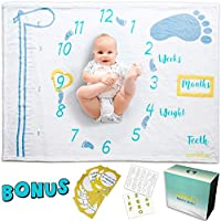 Nonidoo Baby Monthly Milestone Blanket for Girls & Boys