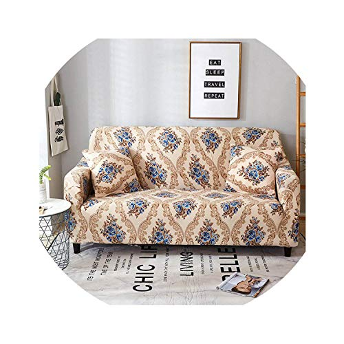 ACOMY Floral Leaves Printing Sofa Cover Tight Wrap All-Inclusive Couch Cover for Living Room Anti-Dirty Furniture Cover 1/2/3/4 Seater,Linen,3seater 190-230cm