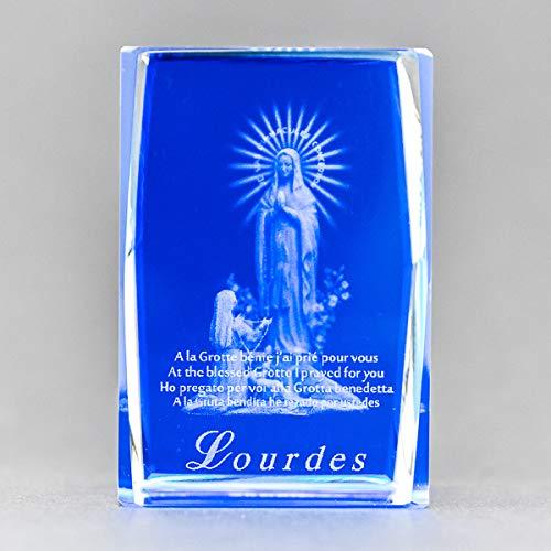 Lourdes Crystal Lazer Engraved Paperweight & Lourdes Prayer Card