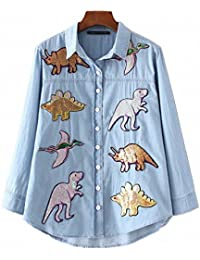 Women New Dinosaurs Sequins Patch Denim Shirt Appliques Bling Bling Blouse Tops For 4 Season