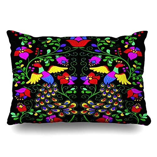 DIYCow Throw Pillows Covers Stylization Mexican Motif Style Abstract Pattern Cushion Case Pillowcase Home Sofa Couch Standard Size 20 x 26 Inches Pillowslips
