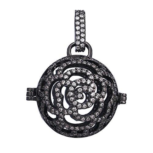 Beydodo Diffuser Necklace Women Gold Hollow Round Rose Flower White Cubic Zirconia Pregnancy Gift Mom