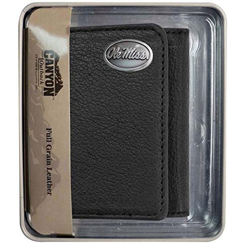 Canyon Outback Tri-Fold Black Wallet, Ole Miss Rebels