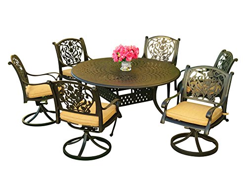 "Everhome Designs - Victoria 7-Piece Cast Aluminum Patio Dining Set with 60"" Round Dining Table & Premium Sunbrella Cushions (6 Swivel Rocking Chairs)"